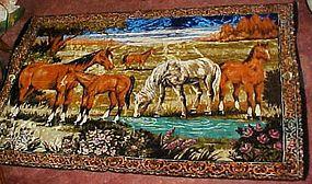 Large Vintage Horses tapestry rug