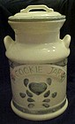 Nice large milk can shape cookie jar, blue  hearts