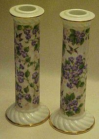Crystal Cathedral candleholders violets hummingbird's