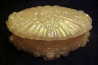 Fenton shell pink irridized oval trinket box w/lid