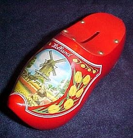 Souvenir wooden shoe  bank from Holland, laquerware