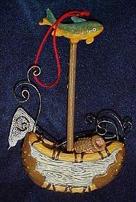 Fishermans Christmas ornament, birch bark canoe