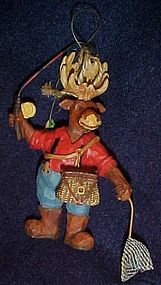Fisherman moose Christmas ornament for the Sportsman