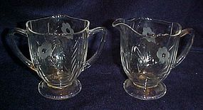 Depression glass crystal creamer & sugar, floral cut