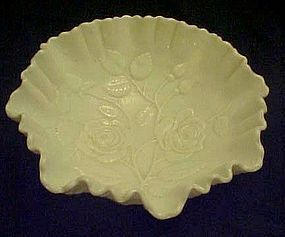 Imperial Roses, crimped  ruffle milk glass bowl