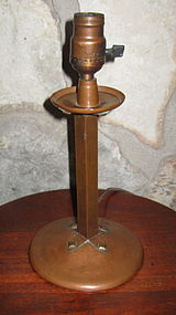 Handel Arts and Crafts Hammered Copper Lamp