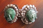 Striking Vintage Mexican Silver & Carved Masks Bracelet