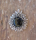 Vintage Modernist Sterling and Onyx Brooch Pendant