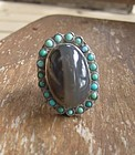 Vintage Mexican Silver Large Stone Ring Matl Like