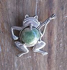 Vintage Mexican Silver Agate Frog Brooch Signed