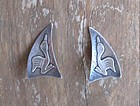 Vintage Hammered Sterling Stylized Bird Earrings Signed