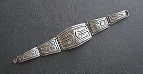 Vintage 975 Silver Modernist Signed Bracelet Hand Made