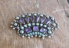Mexican Brooch Silver Amethyst Turquoise Matl Design