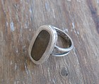 Vintage Modernist Mexico Silver Wood Inlay Ring Eagle #