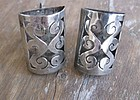 Vintage Mexican Silver Shadowbox Cuff Links Pre Eagle