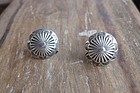 Vintage Navajo Silver Stamped Screw Back Earrings