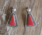 Vintage Mexican Sterling Silver and Red Stone Earrings