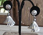 Vintage Unusual Mexican Silver Bell Earrings Signed