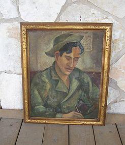 Listed IA & MI Artist WPA Style Painting Exhibited 1943
