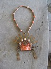 Vintage Mexican Copper Brass Stone Large Necklace
