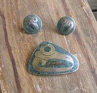 Vtg Taxco Mixed Metals Pre Columbian Bird Pin Earrings
