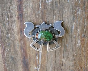 Vintage Arts Crafts Design Silver and Art Glass Brooch