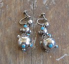 Vintage Mexican Silver Earrings Sputnik Design Harmon