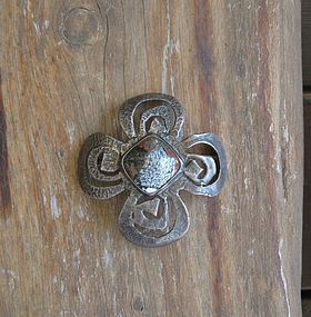 Vintage Silver Brooch ORNO Poland Arts Crafts Design