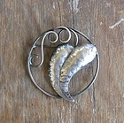 Vintage Arts and Crafts Hammered Sterling Brooch Rohner