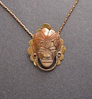 Vintage Mixed Metals Necklace Ceramic Head Mexico
