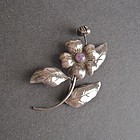 Mexican Silver and Amethyst Brooch Vintage Poppy