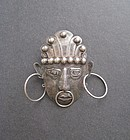 Vintage Early Mexican Silver Pre Columbian Brooch
