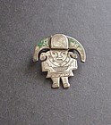 Vintage Laffi Inca God Man Silver Enamel Brooch