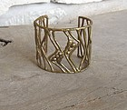 Unusual Vintage Hand Made Artisan Brass Bracelet Cuff