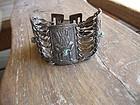 Vintage Early Silver Pre Columbian Link Bracelet