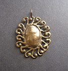 Vintage Modernist Brass or Bronze Large Pendant