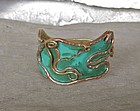 Vintage Casa Maya Mexico Copper Brass Serpent Bracelet