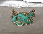 Vintage Casa Maya Mexico Copper Brass Serpent Bracelet