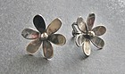 Vintage Mexico Silver Movable Flower Earrings Signed