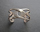 Vintage Sterling Heavy Bold Modernist Cuff Signed