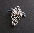Celtic Sterling Enamel Arts Crafts Style Brooch Swans
