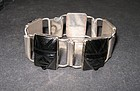 Vintage Mexico Silver Art Deco Design Carved Bracelet