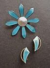 Vtg Norway Aksel Holmsen Sterling Enamel Pin Earrings