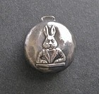 Vintage Sterling Silver Baby Rattle Rabbit Bunny Easter
