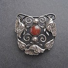 Vintage Arts and Crafts Large Sterling Carnelian Brooch