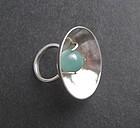 Vintage Modernist Sterling Stone Unusual Ring