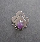 Great Vintage Modernist Sterling Purple Stone Brooch
