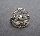 Vintage Arts and Crafts Sterling Pearl Brooch Signed