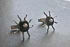 Vintage Modernist Taxco Sterling Onyx Cuff Links