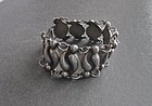Vtg Modernist Repousse Bracelet Mexican Silver Early